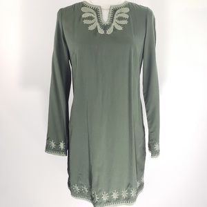 Shukr Olive Green Embroidered Tunic, Size S